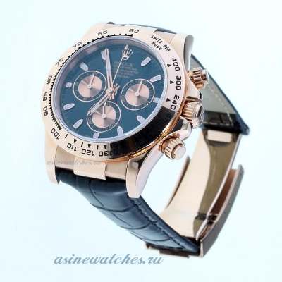 Discount Rolex Daytona Swiss Calibre 4130 Chronograph Movement Rose Gold Case Stick Markers with Bla