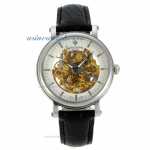 Replica Patek Philippe Skeleton Automatic with Stick Markers-Black Leather Strap online