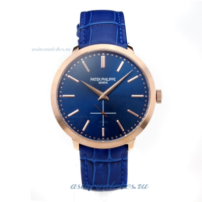 Replica Patek Philippe Automatic Rose Gold Case with Blue Dial Leather Strap online