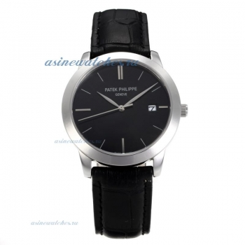 Replica Patek Philippe Classic Stick Markers with Black Dial Sapphire Glass online