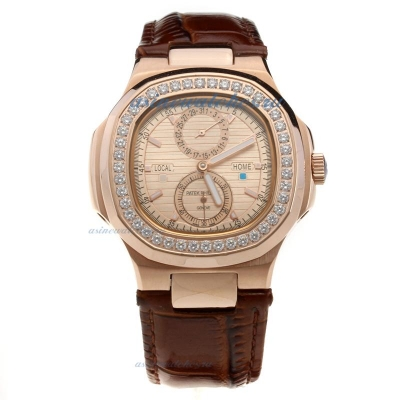 Replica Patek Philippe Nautilus Automatic Rose Gold Case Diamond Bezel with Champagne Dial-Leather S