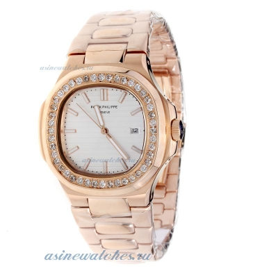 Replica Patek Philippe Nautilus Full Rose Gold Diamond Bezel with Silver Dial online
