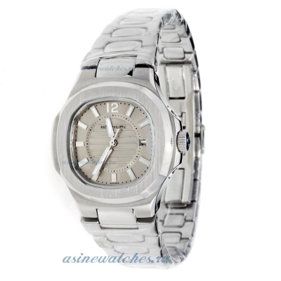 Replica Patek Philippe Nautilus with Gray Dial S/S-Lady Size online