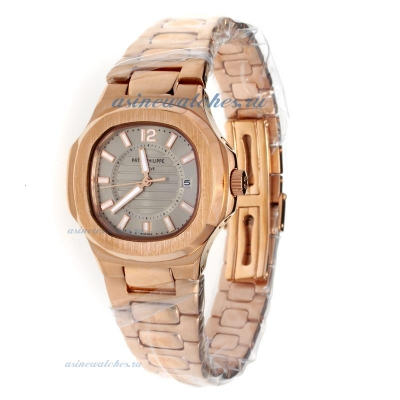 Replica Patek Philippe Nautilus Full Rose Gold with Gray Dial-Lady Size online