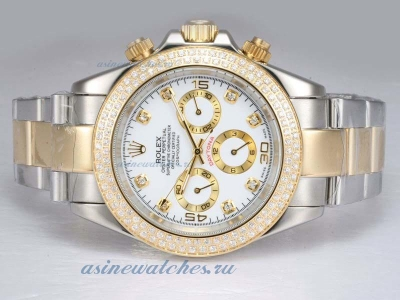 Discount Rolex Daytona Automatic Two Tone with Diamond Bezel-White Dial sale