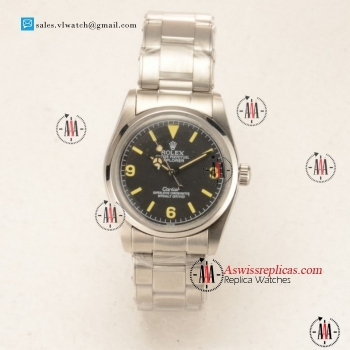 Rolex Explorer Cartier Steel Case with Steel Bezel Black Dial For Sale