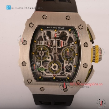 Richard Mille RM11-03 Swiss Valjoux 7750 Auto Steel Case With Black Rubber Strap For Sale - (KV)