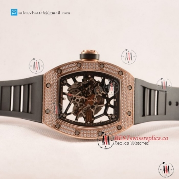 1:1 Richard Mille RM035-02 Black Toro Americas Japanese Miyota 9015 Auto Rose Gold Case With Skeleton Dial For Sale