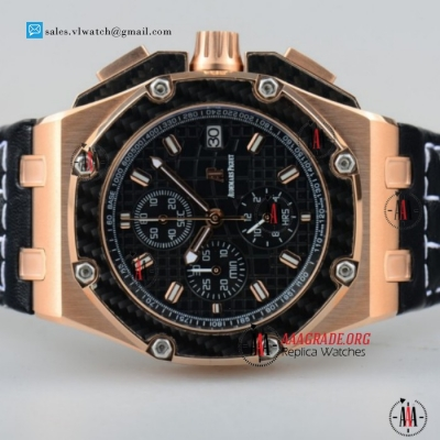 Cheap Audemars Piguet Royal Oak Offshore Juan Pablo Montoya Miyota OS10 Chronograph Rose Gold Case with Black Dial Black Leather Strap For Sale - (EF)