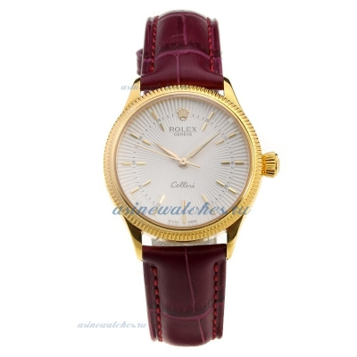 Cheap replica Rolex Cellini Gold Case White Dial with Purple Leather Strap-Lady Size-1 online