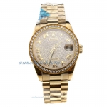 Rolex Datejust Swiss ETA 2836 Movement Full Gold Roman Markers with Diamond Bezel and Dial-Mid Size-