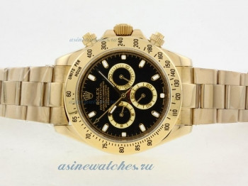 Cheap replica Rolex Daytona II Automatic Full Gold with Black Dial/Stick Marking-42mm Version online