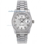 Discount Rolex Day-Date Automatic Diamond Marking and Bezel with Silver Dial S/S-Sapphire Glass