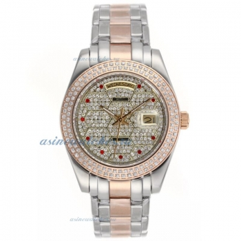 Cheap replica Rolex Masterpiece II Automatic Two Tone Diamond Bezel and Dial with Red Diamond Marker