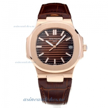 Patek Philippe Aquanaut Automatic Rose Gold Case with Brown Dial-Sapphire Glass