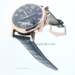 Replica Patek Philippe Perpetual Calendar Tourbillon Automatic Rose Gold Cae with Black Dial-Leather