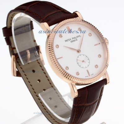 Replica Patek Philippe Classic Rose Gold Case with White Dial-Leather Strap-Diamond Markers-Sapphire