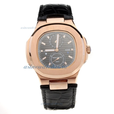 Replica Patek Philippe Nautilus Rose Gold Case with Black Dial-Leather Strap online