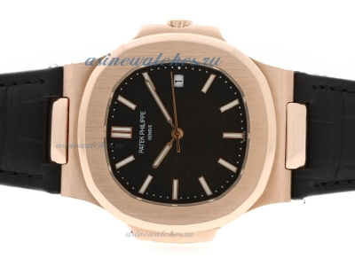 Replica Patek Philippe Nautilus Jumbo MBW Swiss ETA 2824 Movement Rose Gold Case with Black Dial Dep