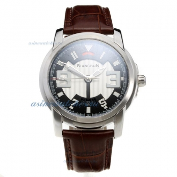Blancpain with White/Black Dial-Leather Strap on sale