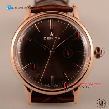 Cheap Zenith Vintage 9015 Auto Rose Gold Case with Brown Dial For Sale - (AAAF)
