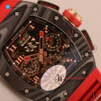 Cheap Richard Mille RM 11-02 7750 Auto Chronograph Carbon Fiber Case with Red Rubber Strap For Sale