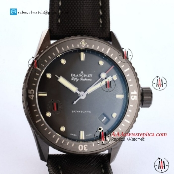 1:1 BlancPain Fifty Fathoms Bathyscaphe Miyota 9015 Auto PVD Case With Black Dial For Sale - (GF)