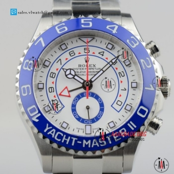 Cheap Rolex Yacht-Master II 7750 Auto Chronograph Steel Case with White Dial Blue Bezel For Sale - (BP)
