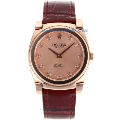Cheap replica Rolex Cellini Full Rose Gold Diamond Markers with Champagne Dial Red Leather Strap onl
