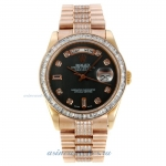 Discount Rolex Day-Date Automatic Full Rose Gold with Grey Dial CZ Diamond Bezel and Markers Same Ch