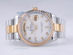 Discount Rolex Day-Date Swiss ETA 2836 Movement Two Tone with MOP Dial Diamond Marking