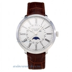 Replica Patek Philippe with White Dial Leather Strap-1 online
