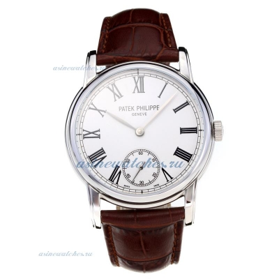 Replica Patek Philippe Manual Winding with White Dial Leather Strap online