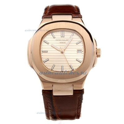 Replica Patek Philippe Nautilus Automatic Rose Gold Case Champagne Dial with Leather Strap-18K Plate