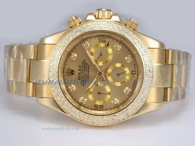 Discount Rolex Daytona Automatic Full Gold with Diamond Bezel-Golden Dial sale