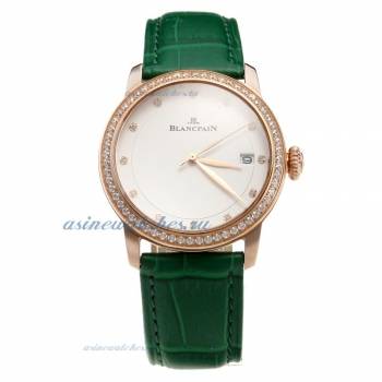 Blancpain Rose Gold Case Diamond Bezel with White Dial-Green Leather Strap-1 on sale