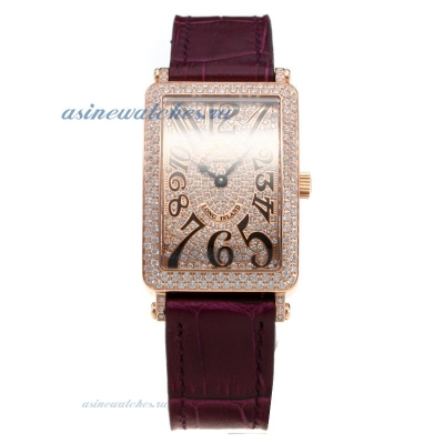 Cheap designer Franck Muller Long Island Rose Gold Case Diamond Bezel and Dial with Purple Leather S
