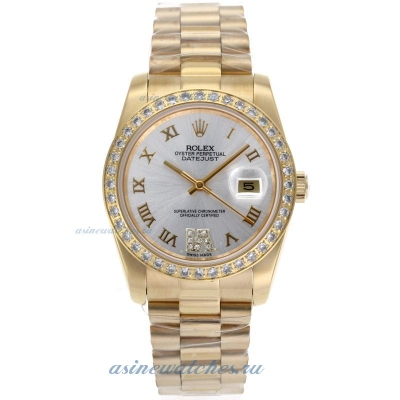 Cheap replica Rolex Datejust II Automatic Full Gold Diamond Bezel Roman Markers with Silver Dial Sap