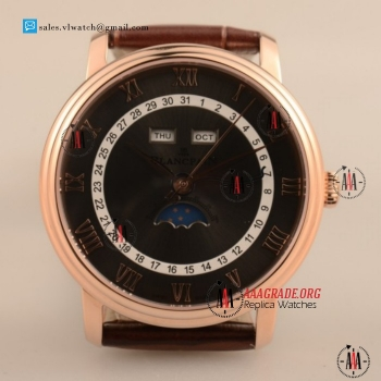 Cheap BlancPain Villeret Moonphase & Complete Calendar 9015 Auto Rose Gold Case with Black Dial For Sale (AAAF)