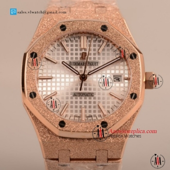 Cheap Audemars Piguet Royal Oak 41MM 3120 Auto Rose Gold Case with White Dial For Sale - (EF)