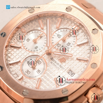 Cheap Audemars Piguet Royal Oak Chronograph Miyota OS10 Quartz Rose Gold Case with White Dial For Sale