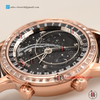 Patek Philippe Grand Complication 9015 Auto Rose Gold Case with Black Dial For Sale