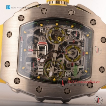 Richard Mille RM11-03 Swiss Valjoux 7750 Auto Steel Case With Yellow Rubber Strap For Sale - (KV)