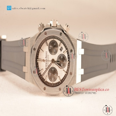 Audemars Piguet Royal Oak Chronograph White Dial With Black Sub Dial Strap Swiss Valjoux 7750 26331ST.OO.1220ST.03