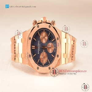Audemars Piguet Royal Oak Chrono Full Rose Gold With Blue Dial 7750 Automatic 26331OR.OO.1220OR.01