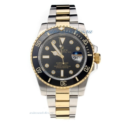 Cheap Rolex Submariner Automatic Black Ceramic Bezel Two Tone with Black Dial-Sapphire Glass-Same Ch