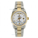 Discount Rolex Day-Date Automatic Two Tone Diamond Markers with White Dial Sapphire Glass-1