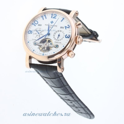 Replica Patek Philippe Perpetual Calendar Tourbillon Automatic Rose Gold Cae with White Dial-Leather