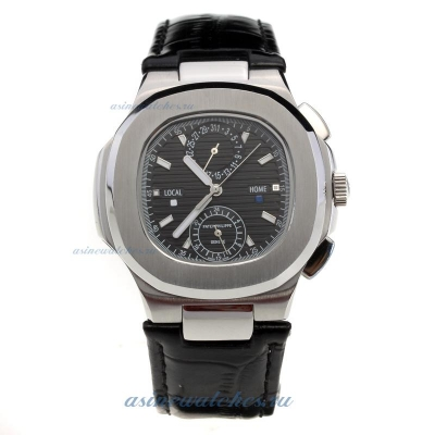 Replica Patek Philippe Nautilus with Black Dial-Leather Strap online