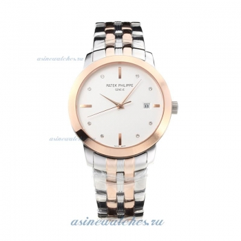 Replica Patek Philippe Classic Automatic Rose Gold Case with White Dial 18K Plated Gold Movement-Sap